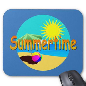 Summertime, Beach Holiday Illustration Mouse Pad