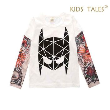Summer T-shirt Cotton Boys Clothes Casual Baby Children Clothing Tattoo Print Long Sleeve T Shirts Toddler Kids Top Tees 1-9 Y