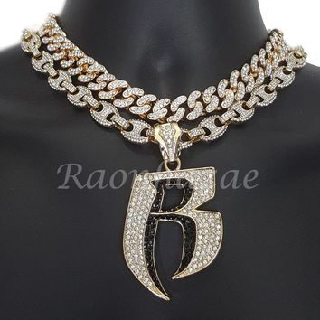 "Iced Out Anchor Ruff Ryders 16"" Iced Out Choker 18"" Puffed Gucci Chain Set G59"