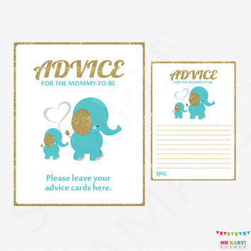 Teal Blue and Gold Baby Shower, Advice for Mommy To Be, Elephant Baby Shower Boy, Mom Advice Cards, Baby Shower Inserts, Printable EL0004-tg
