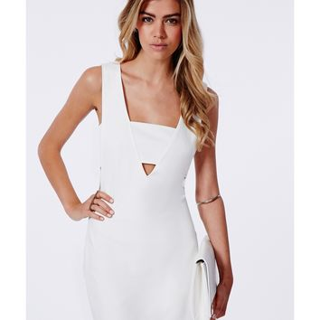 Missguided - Fay Cut Out V Neck Bodycon Dress White