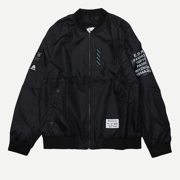 Men Patched Detail Jacket