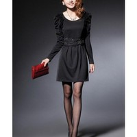 Black Women Autumn New Style Korean Style Slim Long Sleeve Cotton Dress M/L/XL @WH0407b $20.99 only in eFexcity.com.