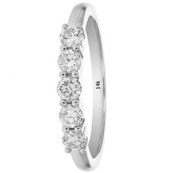 AGS Certified 0.46 Carats 1/2 CT 5 Stone I1-I2 Diamond Ring in 14K White Gold