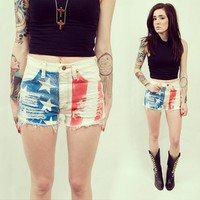 Acid Washed American Flag Denim Shorts