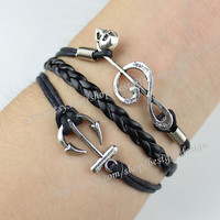 Anchor,Musical Note & Skull Charm Bracelet in silver--Persomalized Bracelet,charm bracelet,friendship bracelet