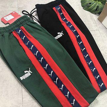 PUMA sports pants string standard pants men's sports trousers loose version women's casual couple pants black green