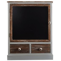 Wood Cabinet with 2 Drawers and Chalkboard front door (Brown)