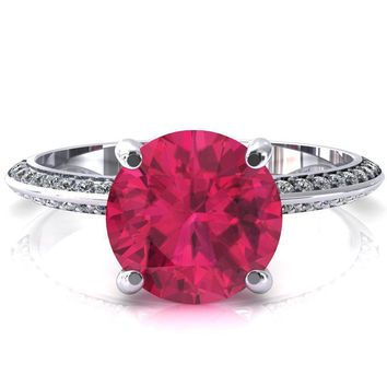 Nancy Round Ruby 4 Prong 1/2 Eternity Diamond Knife Shank Accent Engagement Ring