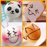 4PCS 4cm Panda Bread Red Face Squishy Kawaii Charms Key/Bag/Cell Phone Straps