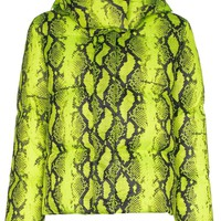 Ladies Neon Yellow Python Print Puffer by OFF-WHITE
