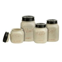 Ivory and Black Kitchen Canisters, Set of 4