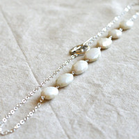 White Opal Necklace, October Birthstone Jewelry, Argentium Sterling Silver Chain. Ready to ship