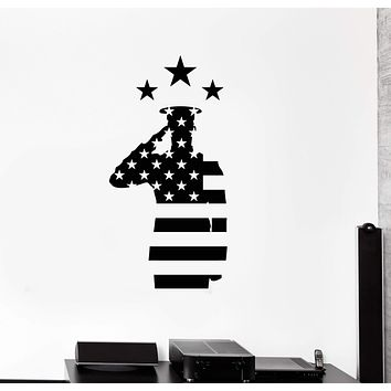 Vinyl Wall Decal Veterans Day USA Flag Soldier Patriotic Art Decor Stickers Mural (ig5374)