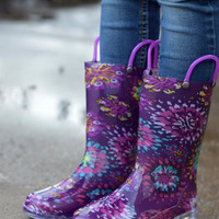 Abstract Blooms Lighted Rain boots {Purple}   491007