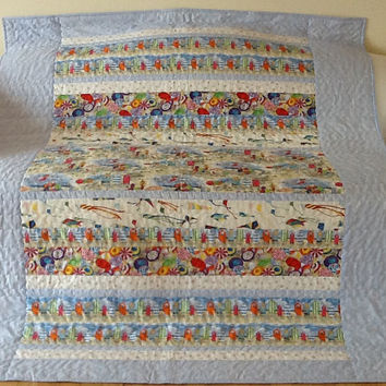 SALE, Beach, Seaside Village, Beach Huts, Cottage Quilt, Large Lap Quilt, Throw, Handmade Quilt 61 x 71 inches Free Shipping Canada and USA