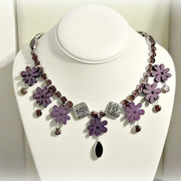Purple Flower Statement Necklace - Glass, Wood - Spring, Summer, gift for her, Cottage Chic, Boho
