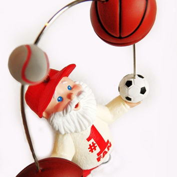 "NIB Hallmark Keepsake Ornament ""The Biggest Fan"" Christmas Sports Holiday Santa Coach Baseball Hat Football Soccer Ball Juggling #1 Father"