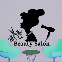 Wall Decal Beauty Salon Hair Salon Fashion Girl Woman Haircut Hairdressing Barbershop Decals Vinyl Sticker Wall Decor Art Mural MN470