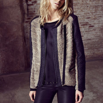 AMS Pure - Beirut Knit & Faux Leather Jacket | Shop AMS Pure Outerwear - Show Pony Boutique
