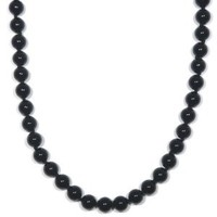 """Sterling Silver 8mm Black Onyx Bead Necklace, 24"""""""