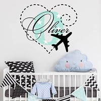 "Airplane Wall Decals Personalized Name Boys Colorful Initial Monogram Heart Vinyl Sticker Decal Custom Name Nursery Playroom Decor NS2018 (12"" Tall (Wide depends on name))"