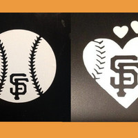 His & Hers San Francisco Giants Baseball and Baseball Heart vinyl car decal - Small