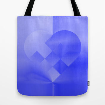 Danish Heart Blues Tote Bag by Gréta Thórsdóttir #love #heart #girly #Christmas #blue #kids #ombre #pattern #shopping