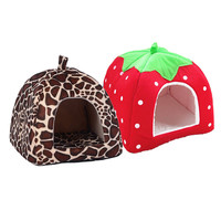 New Dog House Foldable Soft Warm Leopard Print Strawberry Cave Dog Bed Pet Dog House Cute Kennel Nest Fleece Cat Tent