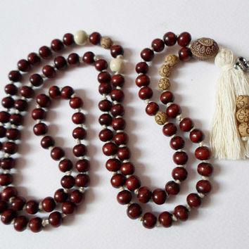 Tibetan Buddhist Mala 108 Red Sandalwood beads 8 mm Necklace, Tassel Necklace Meditation Mala Yoga Necklace, Hand knotted Boho necklace