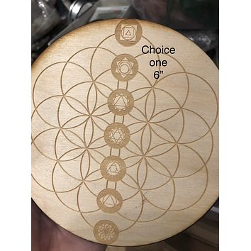 Wood etched Crystal grids