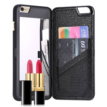 Dual Function Mirror Card Slot Holder Case Cover For coque iPhone 7 7Plus 6 6s plus 5 5S SE Leather Wallet Case Cosmetic Mirror