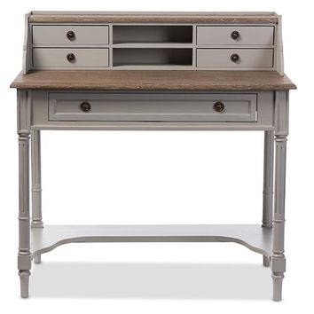 Baxton Studio Edouard French Provincial Style White Wash Distressed Two-tone Writing Desk Set of 1