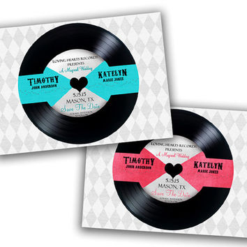 Vinyl Record Save the Date - Wedding Save The Date Postcard - Retro Save the Date Ideas - Custom Colors - Vinyl Record Wedding