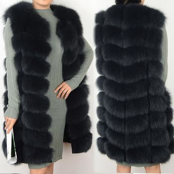 Female coat real fox fur vest Natural fox fur waistcoat warm winter coat Natural fur coat pretty real fur coats jacket