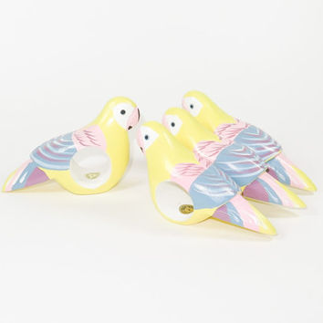 Pretty Parrots Wood Napkin Rings Set of 4