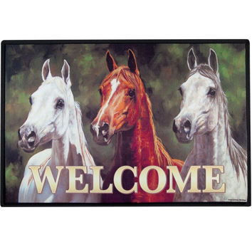 Horses Heads Up Doormat