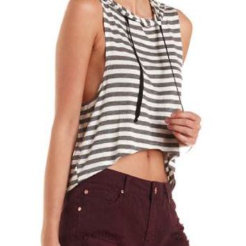 Striped High-Low Sleeveless Hoodie