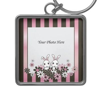 Personalized Lovely Gift for Girls: Cute Bunnies Photo Template Keychains for Girl Twins, Sisters, or Best Friends