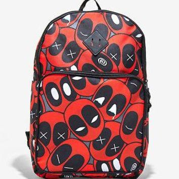 "Licensed cool Marvel Deadpool Faces Print Allover School Travel Backpack Book Bag 12""x18"" NWT"