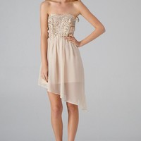 Beige Asymmetric Dress with Bead & Sequin Top Detail