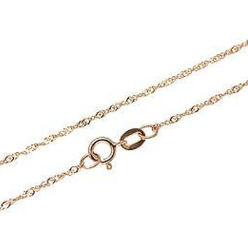 "14K SOLID PINK ROSE GOLD SINGAPORE CHAIN BRACELET 8"" ONLY $36.99"