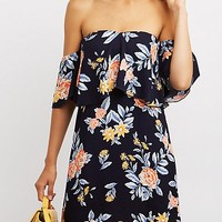 Ruffle-Trim Off-The-Shoulder Shift Dress