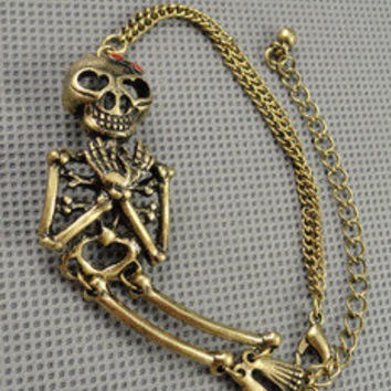 Vintage Style Antique Bronze  human skeleton Pendant Women Jewelry Chain Cuff Bracelet  Men metal bracelet 1221A