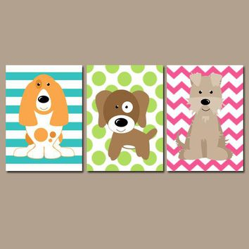 Girl DOG Wall Art, Girl Puppy Decor, Girl Dog Bedroom Pictures, Girl Dog Decor, Girl Dog Theme, Pet Lover Decor, Canvas or Prints, Set of 3