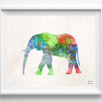 Elephant Watercolor, Animal Print, Painting, Africa Poster, Nursery, Baby Room ,Illustration Art, Watercolour, Wall, Home Decor [NO 393]