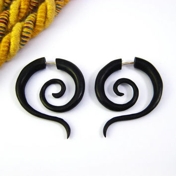 Fake Gauge Earrings Wood Tribal Spiral Earrings - FG014 DW ALL