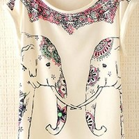 Cute Elephants Print Shirt with Flora Details ZCIB731 from topsales