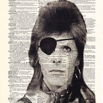 David Bowie Art, Ziggy Stardust, Glam Rock Poster, Dictionary Art Print, Upcycled Book Art, Home Decor, Wall Decor, Mixed Media Art