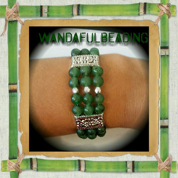 Tibetan Style Green Gemstone and Silver 3 Strand Beaded Memory Wire Bracelet size 7 to 8 inches - $11.50 - Handmade Jewelry, Crafts and Unique Gifts by WandaFulBeading